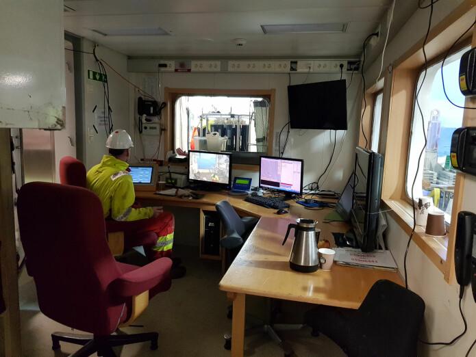 Pilotrommet. Her sitter piloten og styrer videorigen Chimaera. Bilde: Lilja R. Bjarnadóttir