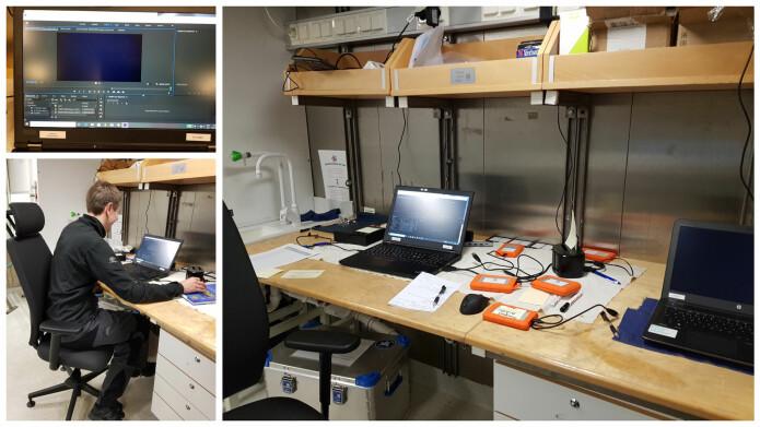 Kontor og eDNA-lab. Her jobber vi også videre med videoematerialet – her ser dere Yngve i sving. Bilder: Lilja R. Bjarnadóttir