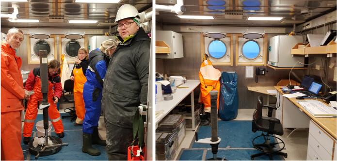 På geolaben jobber geologer og kjemikere i fellesskap med prøver fra grabb og multikjernetaker, i tillegg til renskriving av notater og TOPAS-kontroll. Bilder: ValérieBellec & Heidi Gabrielsen