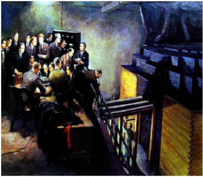 Illustrasjon av verdens første kjernereaktor, Chicago Pile-1. Kilde: IFE