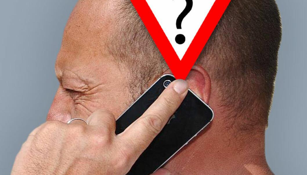 Kan mobilstråling gi hjernesvulst? En stor europeisk undersøkelse antyder at storbrukere over lang tid kan ha risiko, men resultatene er usikre. (Illustrasjonsfoto: www.colourbox.no, bearbeidet av forskning.no)