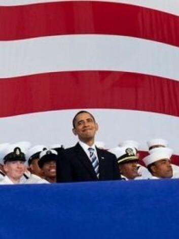 President Barack Obama holder tale på Naval Air Station Jacksonville i Florida, oktober 2009. (Foto: Pete Souza / White House)