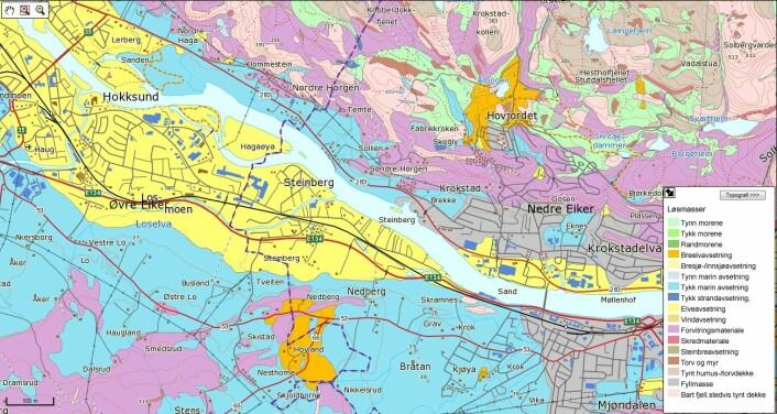 Et av kartene gir oversikt over grunnen under deg. Bor du på fjell, leire eller sand? Geologene har observert ute i terrenget, samlet inn prøver og tolket data. (Foto: (Kart fra NGU-tjenesten Geologien i min kommune))