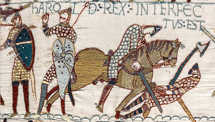 Kong Harold Godwinson, Edvards etterfølger, har fått en pil i øyet og dør i slaget ved Hastings.