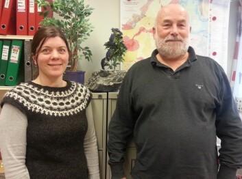 Geolog Per Ryghaug og geograf Ane Bang-Kittilsen ved NGU har jobbet fram tjenesten Geologien i min kommune. (Foto: Nina Kristiansen)