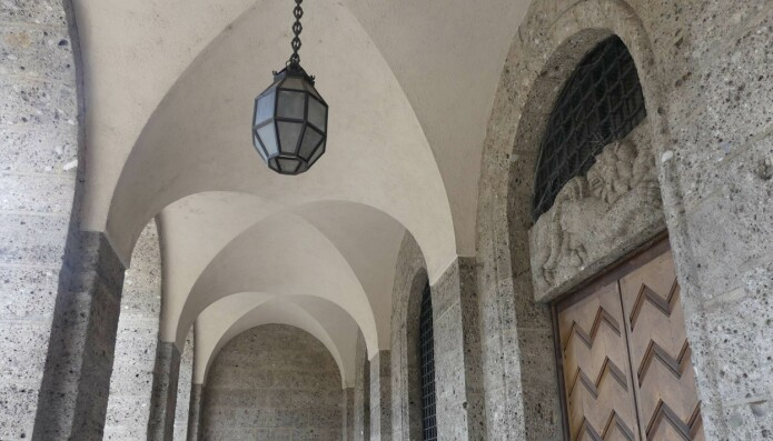 Münchens Tekniske Universitet har fasade av den 200.000 år unge Nagelfluh-bergarten.