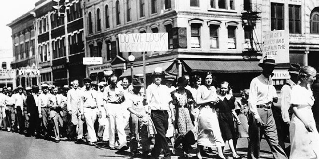 Members of the United Textile Workers of America on strike, Macon Georgia USA 1934.