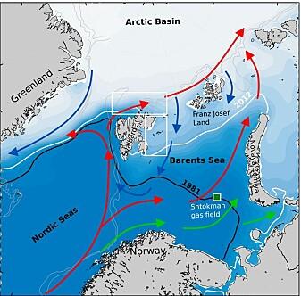 Kart over dominerende avstrømmer i den europeiske delen av Polhavet (røde piler indikerer strømning av varmt atlantisk vann inni i Polhavet, blå piler indikerer strømning av kaldere arktisk vann ut av Polahvet, grønne piler antyder strømning av Norsk kystvann), og undersøkelsesområdene for pågående toktet øst og nord for Svalbard (hvite bokser). Isutbredelsen i 1981 og 2017 er indikert henholdsvis gjennom en svart og hvit linje i Barentshavet.