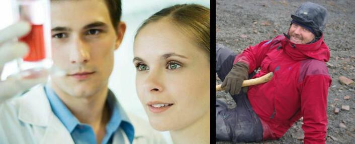 """Hvordan ser en forsker ut? Hvis vi taster """"scientist"""" inn i søkefeltet hos bildebyråene kommer det ganske urealistiske bilder fram - som dette til venstre fra Colourbox. Virkelighetens forskere ser mer ut som Jørn Hurum til høyre (Foto: Bjørnar Kjensli)."""