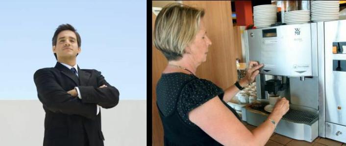 Vi skriver om innovasjon i næringslivet, små bedrifters vilkår og finanskrisen virkning på business. Men hvilket av disse to bildene representerer best norsk næringsliv? Det er ikke alltid mann i dress økonominyhetene handler om. Begge bildene er fra Colourbox.