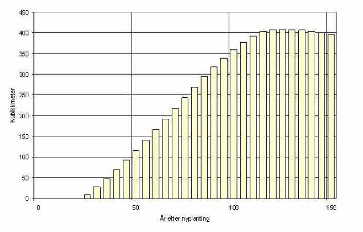 Figur 1. Antatt utvikling av stående masse (mengden trevirke) på den enkelte teig i årene etter flatehogst. Frem til 113 års alder er veksten omtrent som i standard tilveksttabell for gran i en middels frodig skog (bonitet 14), korrigert for naturlig avgang. Utviklingen i stående masse etter 113 års alder er konservativt, men skjønnsmessig anslått.