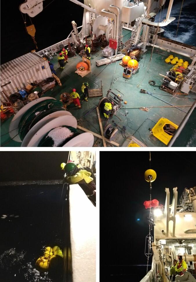 Å ta opp og sette ut oseanografiske rigger er en krevende operasjon som ikke ville være mulig uten det trente og kunnskapsrike mannskapet på skipet. (Foto: Angelika Renner)