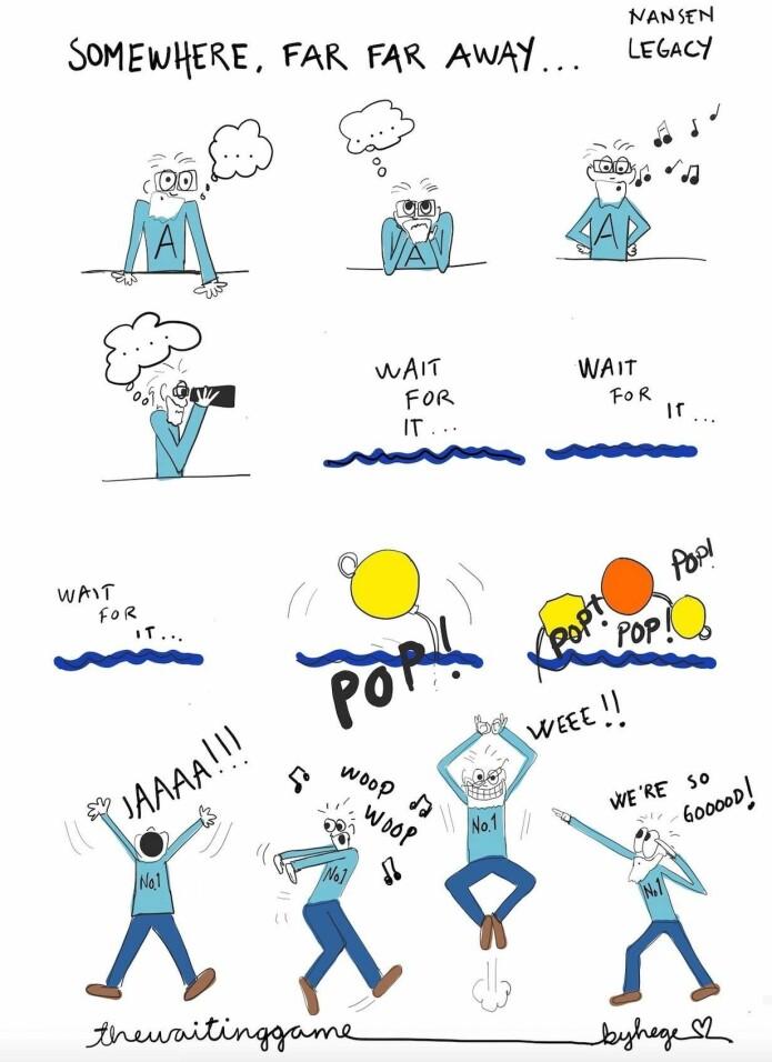 Det å ta opp rigger i isen og polarnattens mørke er en nervepirrende oppgave for alle involverte. Det krever tålmodighet og venting. Når de første av riggens oppdriftskuler dukker opp på havets overflate, er gleden blant forskerne derfor stor, som illustrert her av toktdeltaker og kunster Hege Holen Paulsrud. (Bilde: Hege Holen Paulsrud)