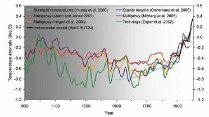 Figur 1 The National Academy of Science . Temperaturutvikling nordlige halvkule 900 - 2000, Avvik fra middeltemperatur 1961 -1990. NAS 2006
