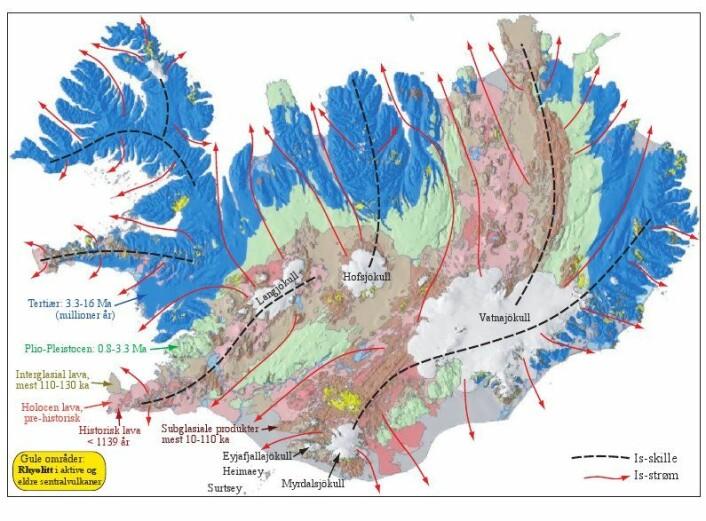 Figur 2: Geologiske og topgrafiske trekk og de viktigste is-kulminasjonene og is-strømmene under siste istid. Forenklet etter Jóhanneseson og Sæmundsson (1998). Klikk her for større versjon.