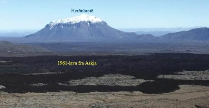 Figur 4. Utsikt mot nord fra Askja-området til det store bordfjellet Herðubreið. De svarte lavastrømmene i forgrunnen er 1961-lava som har rent ut av Askja-kalderaen. Herðubreið (1682 m.o.h) reiser seg mer enn 1000 m over det flate høylandet i den nordlige riftsonen (500-700 m.o.h.) og er synlig over store deler av nordøst-Island Den nederste delen består av putelava og hyaloklastitt-tuff avsatt i en vannlomme i innlandsisen. I en periode med lite innlandsis ble dette materialet dekket av lavastrømmer. Den øverste delen ble til under en istykkelse på omtrent 1 km mot slutten av siste istid (for 12-15000 år siden) og består av enda en sekvens med putelava og tuff og en liten skjoldvulkan på toppen. Klikk her for større versjon.(Foto: Erik Sturkell)