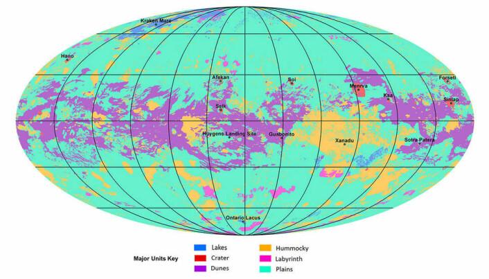 Illustrasjonen viser fordelingen av ulike landskapstyper. De gule arealene viser fjellområder. Lilla viser områder med sanddyner.