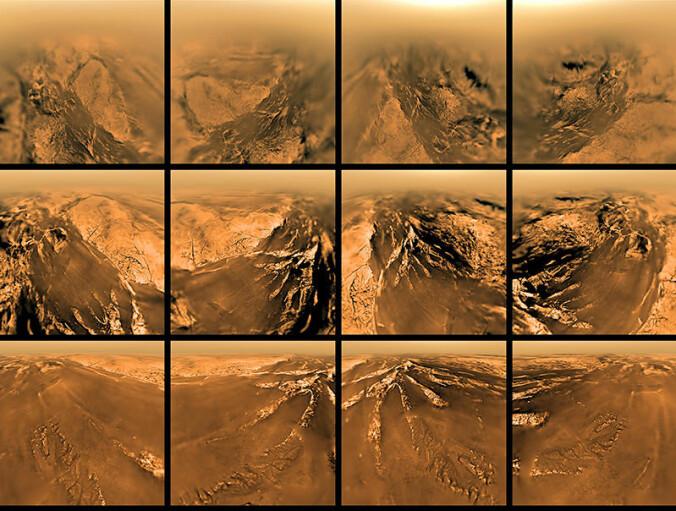 Disse bildene tok romfartøyet Huygens da den besøkte Titan i 2005.