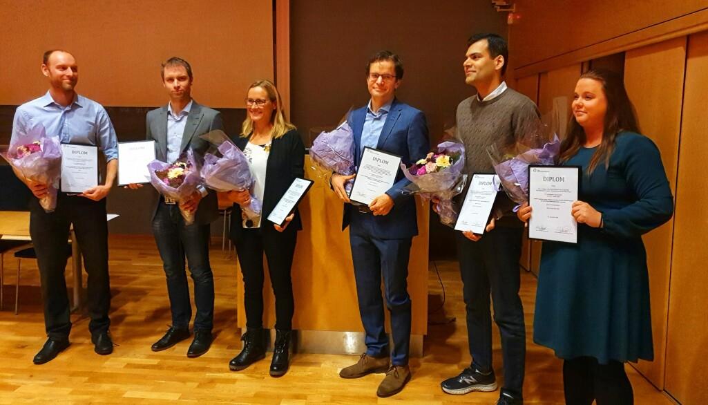 Prisvinnerne (fra venstre): Erik Prestgaard, Trond Michelsen, Kari Nytrøen, Asbjørn Christophersen, Muhammed Ali og Marte Sneeggen. I bakgrunnen: Erlend Smeland.