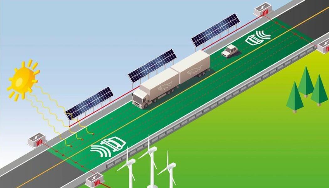 Et forslag for fremtidige veier er å forsyne kjøretøy med strøm fra veibanen.