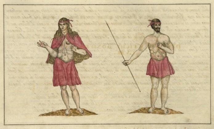 To guancher på øya La Gomera, slik kunstneren Leonardo Torriani så dem på 1600-tallet.