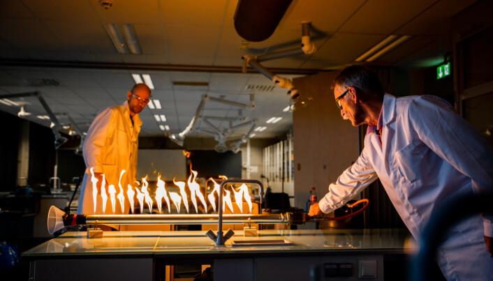 Inge og Magne spiller musikk og flammene dansar i takt.