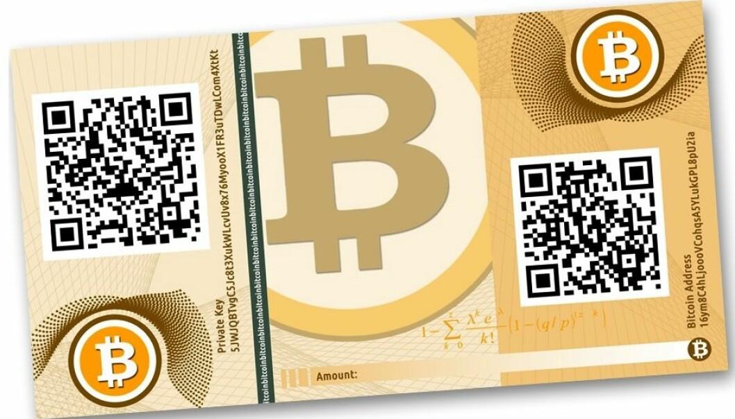 Pengeseddelen er en illustrasjon. Bitcoin eksisterer bare som bits, krypterte data, på internett. Sender og mottaker er anonyme, og alle transaksjoner føres i en logg som er distribuert på nettet. (Illustrasjon: CASASCIUS, Creative Commons)