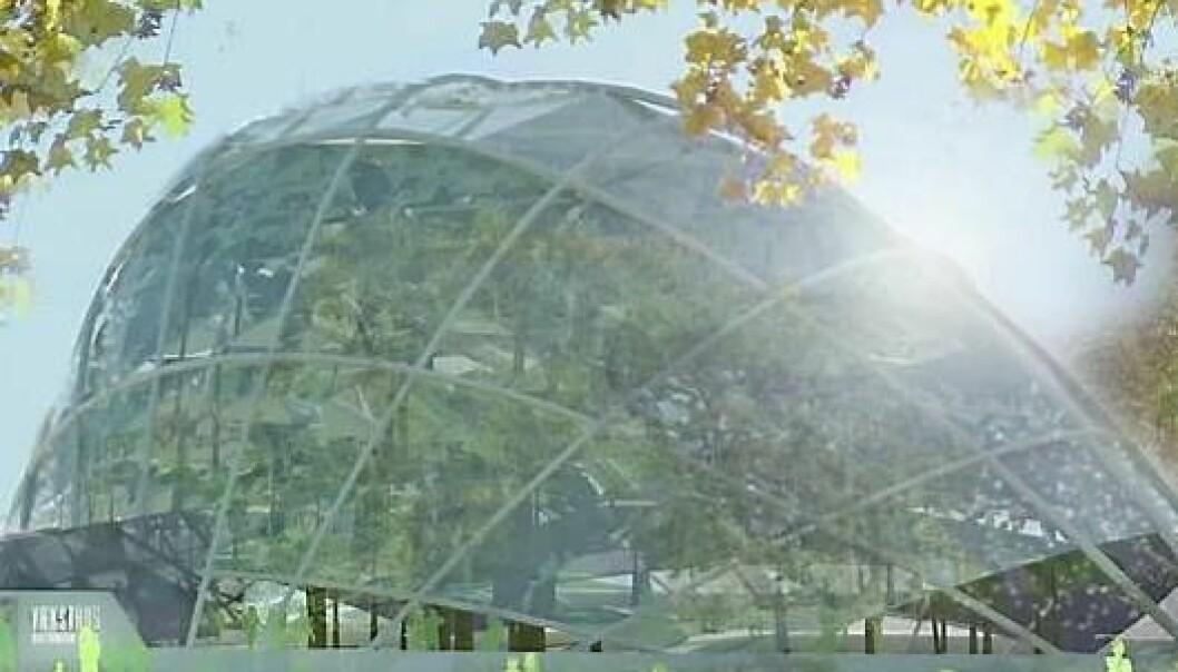 Slik ser plast-veksthuset i Århus ut. Skjermdump/Youtube