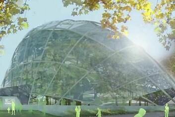 Slik ser plast-veksthuset i Århus ut. (Foto: Skjermdump/Youtube)