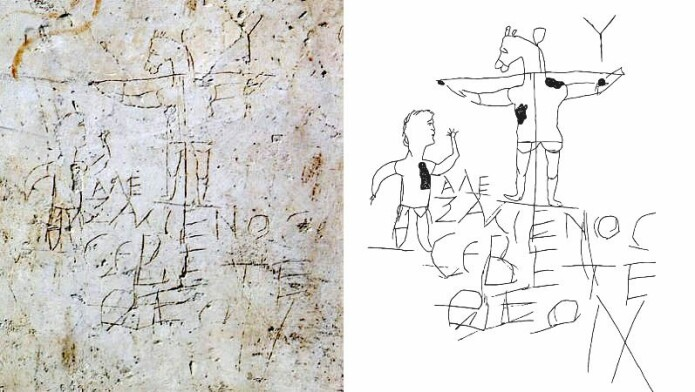 Til venstre et bilde av Alexamenos-graffitien, til høyre en skisse. Graffitien kalles også graffito blasfemo – den blasfemiske graffitien.