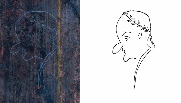 En av verdens eldste karikaturer, risset inn ved Pompeii. Over det skallede hodet står «Rufus est».