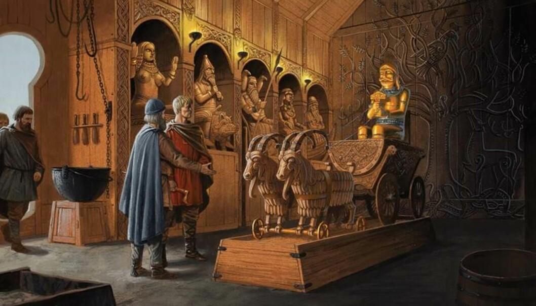 Flatøybok forteller om vakre hedenske, norske templer. Langs veggen her står Frøya, Frøy, Odin, Frigg og Njord. I vogna sitter Tor med hammeren. Trønderhøvdingen Jernskjegge viser fram kultstedet sitt til den kristne kong Olav Tryggvasson. Flatøybok har flere historier som ikke finnes andre steder i sagaene.