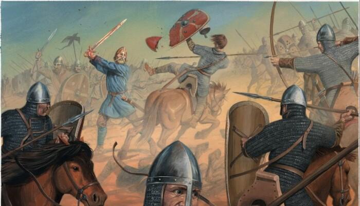 I den norske utgaven av Flatøybok har hovedillustratør Anders Kvåle Rue latt seg inspirere av den islandske originalen. Her fra Slaget ved Stamford Bridge i 1066.