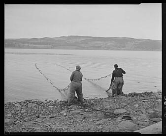 Dette bildet fra Nasjonalbibliotekets bildesamling viser fiske i Mjøsa.