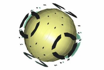 Radons elektrontetthet  forenklet med matematiske beregninger. Denne unike tettheten tillater radon å være gass selv om den veier mer enn bly. Gul kule: atomkjerne; Ytre soner: hovedsannsynligheter for størst elektrontetthet.