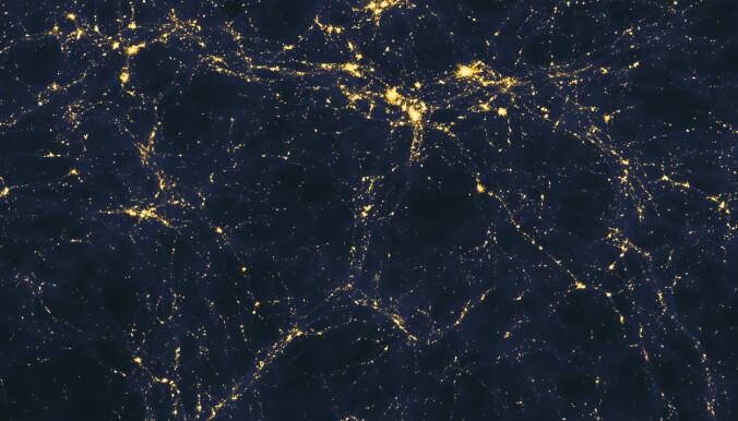 Vil forskere klare å finne signaler fra universets mørke tidsalder? Dette bildet er en datasimulering fra da lys begynte å spre seg ut i det tidlige universet. (Bilde: Andrew Pontzen and Fabio Governato