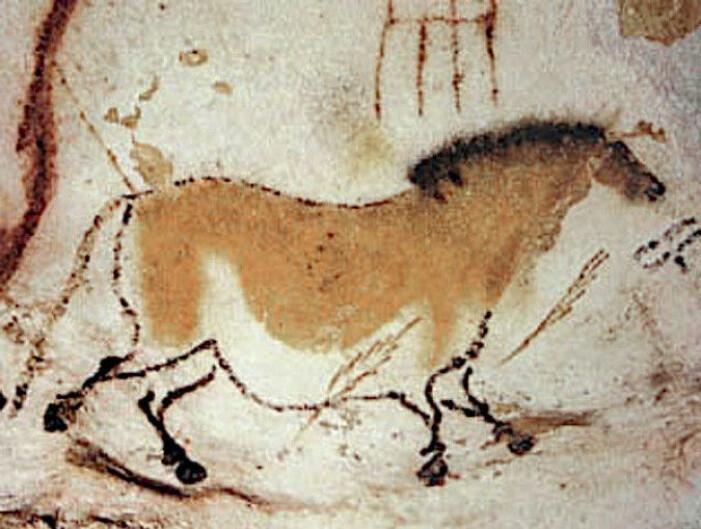 Her er maleriet av en hest i en fransk grotte.