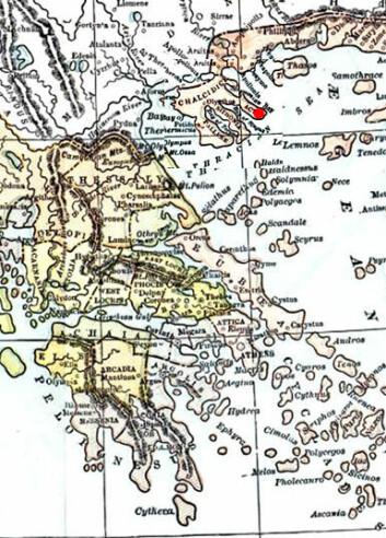 """""""Det gamle Hellas. Den røde prikken markerer Athos."""""""