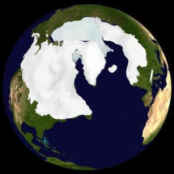Bildet viser den største utbredelsen av is på den nordlige halvkule under sist istid. (Illustrasjon: Dr. Martin Jakobsson, Stockholm Geo Visualization Lab.)
