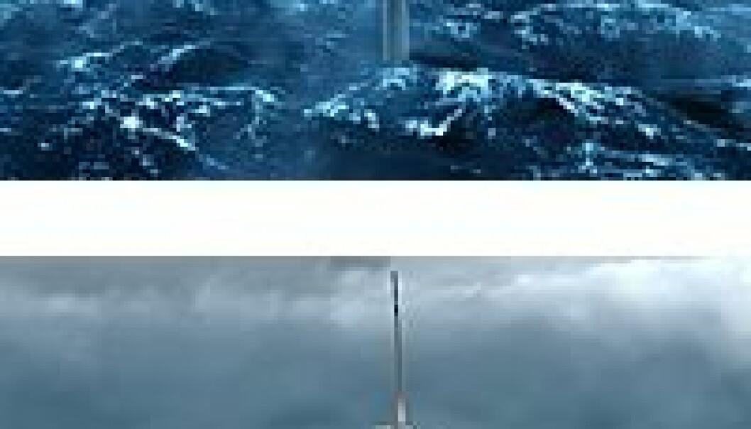 """""""Hydros HyWind er bare ett av flere mulige designløsninger for havmøller. Denne baseres på vindmøller med en høyde på rundt 80 meter over havet og en rotordiameter på om lag 90 meter. (Illust. Hydro)"""""""