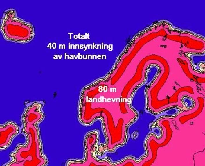 Figur 1. Beregnet total hydro-isostatisk innsynkning etter siste istids maksimum pga 130 m økning i havnivået.