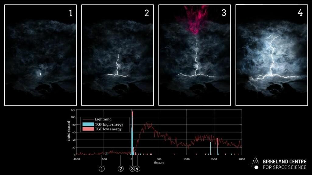 Illustrasjonen viser at en leder dannes tidlig og gammaglimtet skjer like før den store optiske pulsen i et lyn.