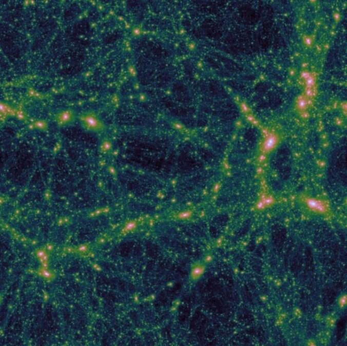 En datasimulasjon ga dette bildet av universets storskala struktur. Det kan se ut som et nett med høyest konsentrasjon av masse i knutepunktene.
