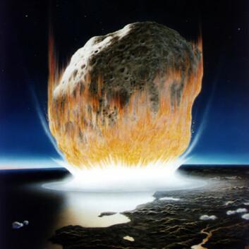 Her er en kunstnerisk framstilling av hvordan det kan se ut idet en diger komet treffer jordoverflata. (Illustrasjon: Don Davis, NASA)