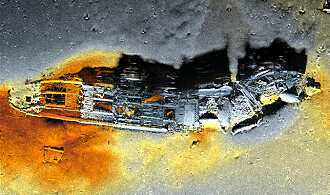Ett av skipsvrakene som ligger dumpet utenfor Sørlandet. Sonarbildet er tatt av den ubemannede ubåten Hugin.