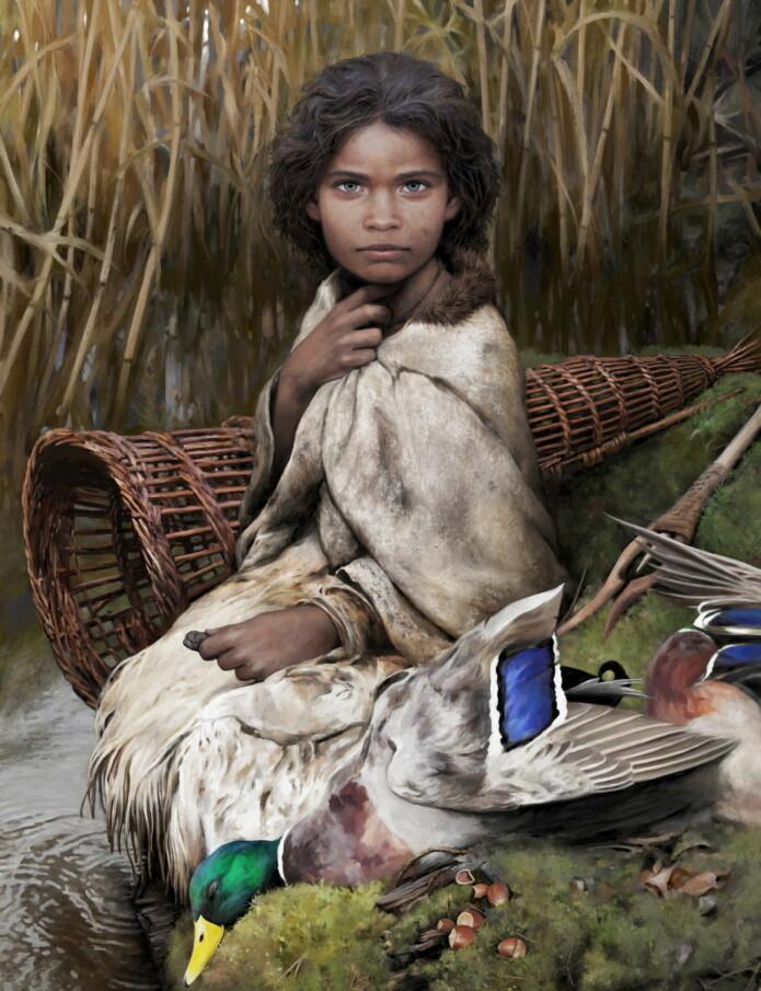 Slik ser kunstneren Tom Björklund for seg steinalderjenta. Det meste er så klart mer eller mindre ren fantasi, inkludert alderen. Men DNA-et fra tyggisen tyder på at fargene er riktige. Jenta, eller kvinnen, hadde trolig blå øyne, brun hud og mørkt hår.