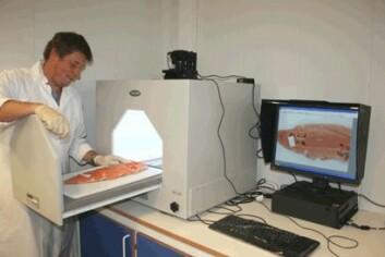 Bjørn Roth testar laksefilet. (Foto: Jan Thomas Rosnes)