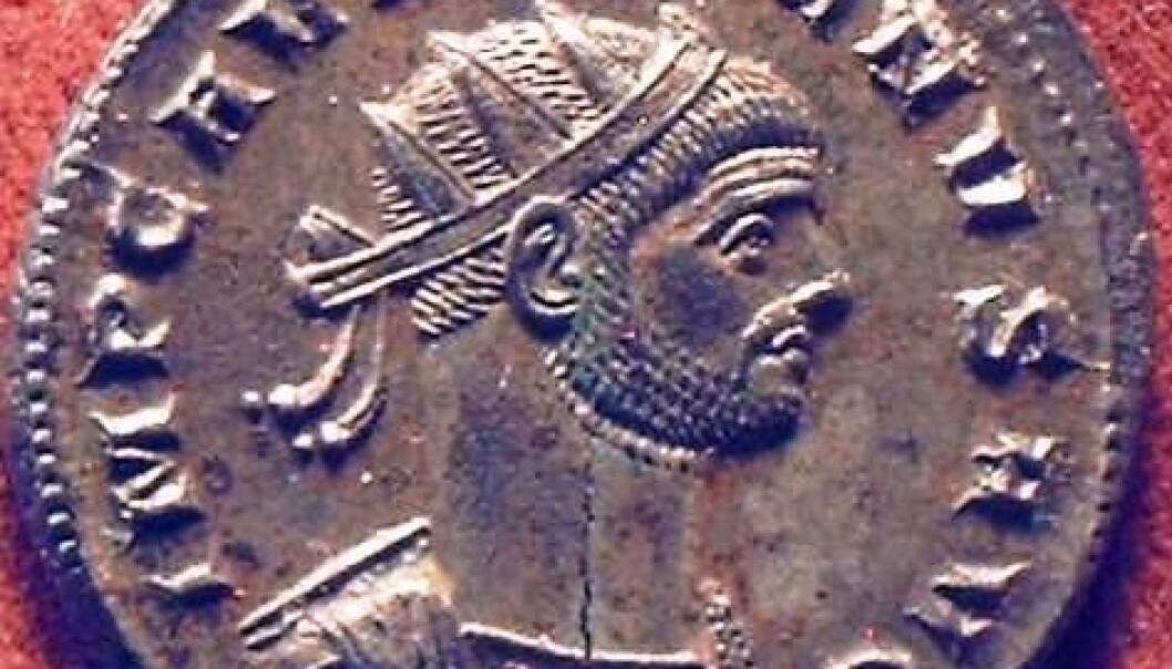 Anoninianus Aurelianus (avbildet på denne mynten) hersket i det romerske imperiet omtrent på den tiden da myntene fra den nyoppdagede skatten er fra. (Illustrasjonsfoto: Wikimedia Commons)