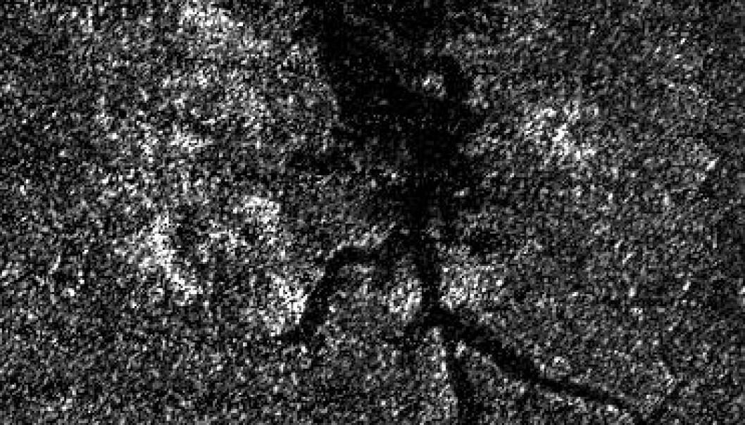 Munningen til Titans svar på Nilen, fotografert fra romsonden Cassini. NASA/JPL-Caltech/ASI