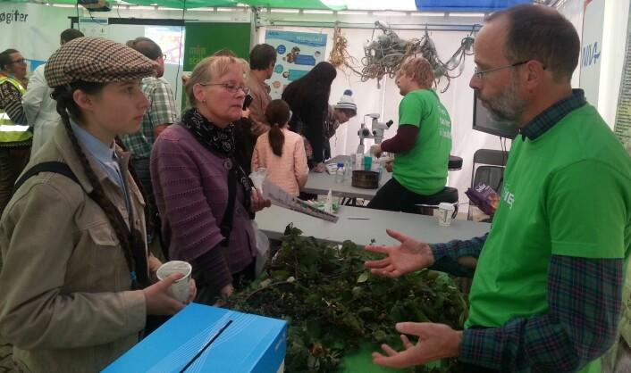 Erik Framstad er både sjef på Ciens og forskningssjef på NINA Norsk institutt for naturforskning. Han viser fram planter som truer naturen i Norge til Emma Fish og hennes mor Anne Flom Jacobsen. (Foto: Nina Kristiansen)